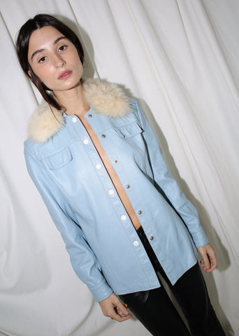 VINTAGE BLUE LEATHER JACKET WITH FAUX FUR COLLAR (M)