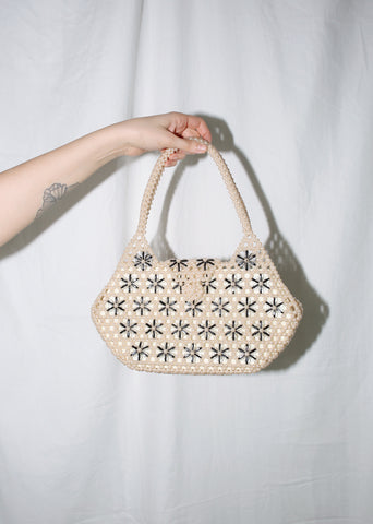 VINTAGE WHITE & BLACK FLORAL BEADED HANDBAG