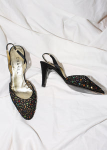 VINTAGE CHANEL BLACK BEADED SLINGBACK HEELS (8.5)