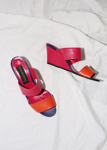VINTAGE DONNA KARAN FUCHSIA & ORANGE LEATHER WEDGES (6.5)