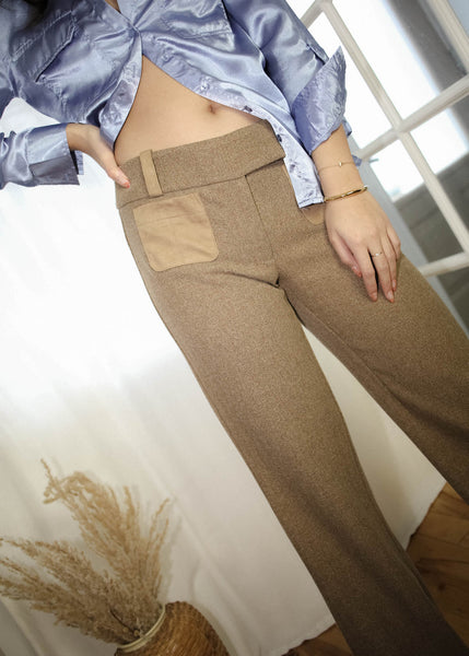 VINTAGE LIGHT BROWN PANTS (S)