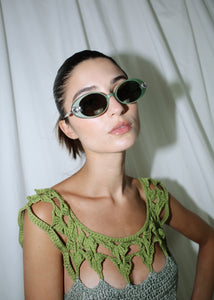 VINTAGE GREEN PLASTIC OVAL SUNGLASSES