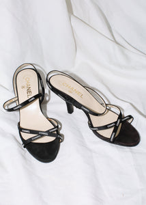 VINTAGE CHANEL STRAPPY LOGO SANDALS (38)