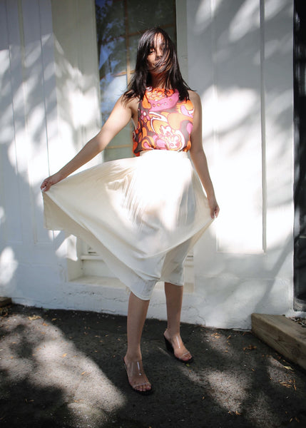 VINTAGE RALPH LAUREN IVORY SILK MIDI PLEATED SKIRT (S)
