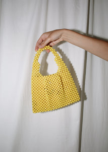 VINTAGE YELLOW BEADED HANDBAG