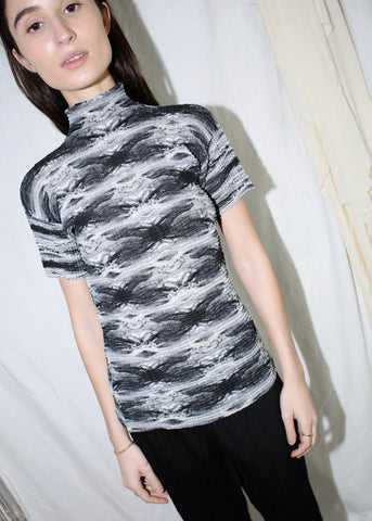 VINTAGE ISSEY MIYAKE PLEATS PLEASE BLACK & WHITE PRINTED TOP (M)