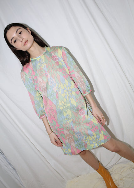 VINTAGE PASTEL COLORED GEOMETRICAL MOD MINI DRESS (S)