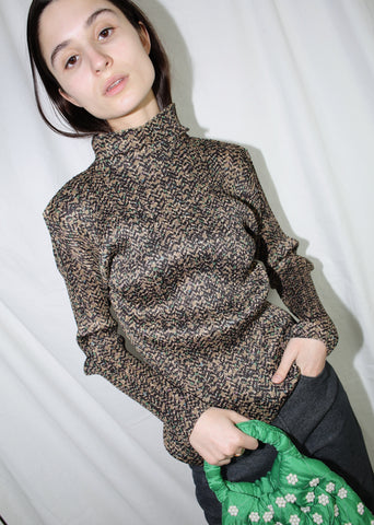 VINTAGE ISSEY MIYAKE PLEATS PLEASE BROWN & GREEN PRINTED TOP (M)