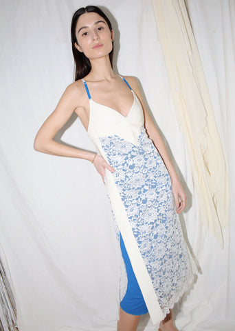 PACO RABANNE BLUE & WHITE LACE MIDI DRESS (XS)