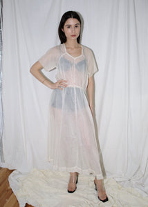 VINTAGE WHITE SHEER FLORAL DRESS (S)