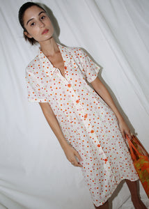 VINTAGE 60'S COLORFUL DOTS MIDI SUMMER DRESS (M)