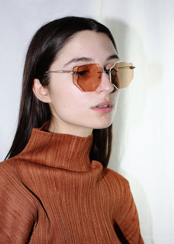 ATI CREA HANDMADE ONE OF A KIND IRREGULAR ORANGE SUNGLASSES