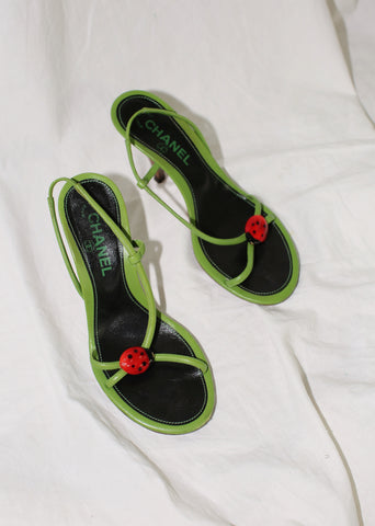 VINTAGE CHANEL GREEN LADYBUG HIGH HEEL SANDALS (36.5)