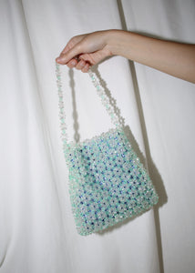 SCULPTURE. LIGHT GREEN DAISY BEADED PETITE BAG