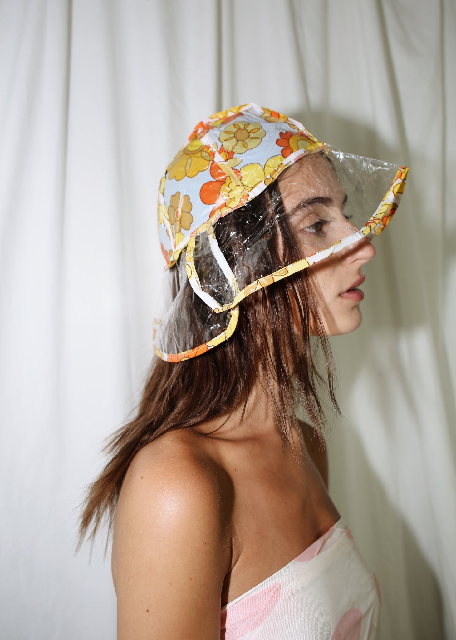 VINTAGE FLOWER PRINT CLEAR RAIN HAT