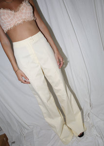 VINTAGE GIVENCHY LEMON YELLOW WIDE LEG TROUSERS (S)