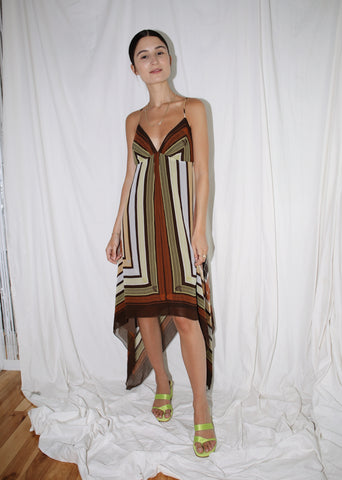 VINTAGE BROWN PRINTED SILK HANDKERCHIEF DRESS (S)