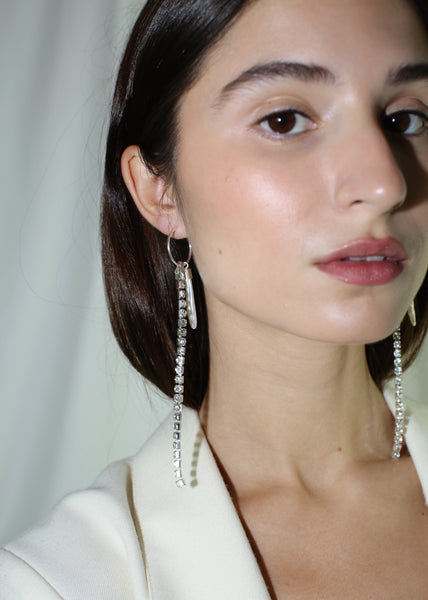 KUNST CLEAR RHINESTONE & PEARL AVA EARRINGS