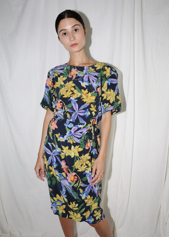 VINTAGE BLUE FLORAL SILK COCKTAIL DRESS (M)