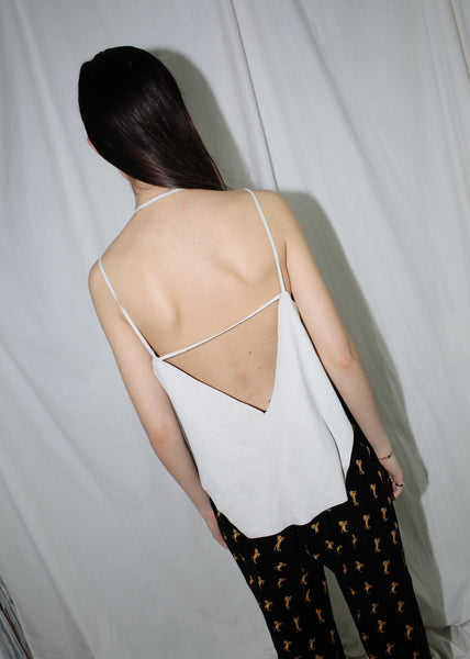 VINTAGE IVORY SUEDE METAL EYELET TOP WITH OPEN BACK (S)
