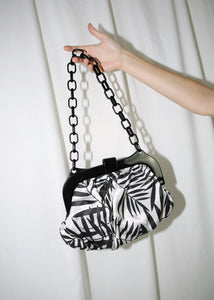 VINTAGE BLACK & WHITE LEAF PRINT BAG WITH PLASTIC CHAIN STRAP
