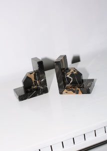 VINTAGE BLACK MARBLE ART DECO BOOKENDS