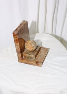 VINTAGE BROWN MARBLE ART DECO BOOKEND