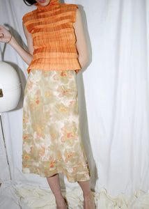 VINTAGE ORANGE & YELLOW FLOWER PRINT SKIRT (L)
