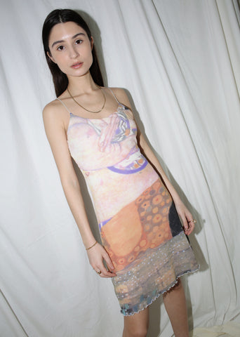 VINTAGE 90'S PRINTED MINI SLIP DRESS (S)
