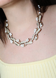 VINTAGE METAL BEADED LEAF WREATH NECKLACE