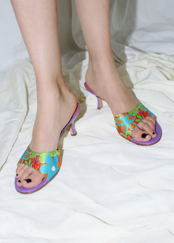 VINTAGE PURPLE & ORANGE FLORAL SLIDES (7)