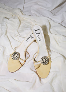 VINTAGE DIOR YELLOW LOGO SANDALS (37)