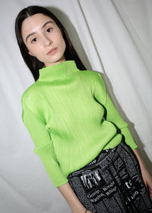 VINTAGE ISSEY MIYAKE PLEATS PLEASE LIME GREEN LONG SLEEVE TOP (M)