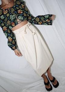 VINTAGE WHITE WOOL MIDI SKIRT WITH ROPE BELT (M)