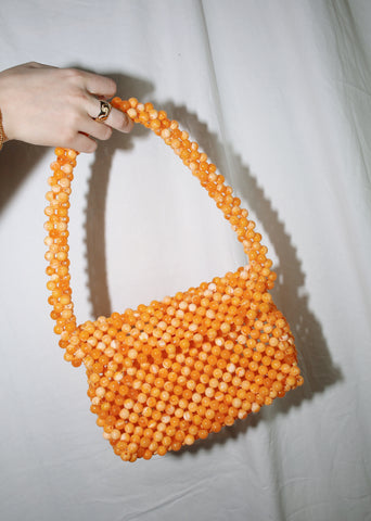 CYNARA ORANGE BEADED LYNO BAG