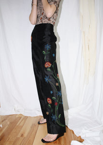VINTAGE BLACK SILK PANTS WITH FLORAL EMBELLISHMENTS (L)