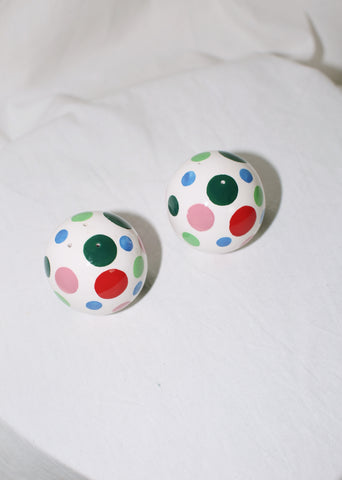 VINTAGE CERAMIC COLORFUL DOTTED SALT & PEPPER SHAKER SET