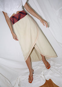 VINTAGE BEIGE COTTON ASYMMETRICAL WRAP SKIRT (M)