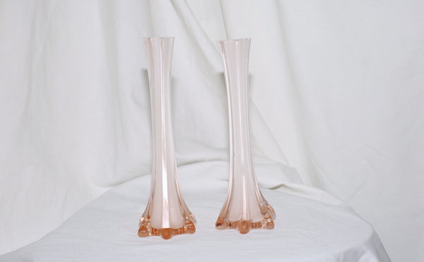 VINTAGE PINK GLASS FLUTE VASES (SET OF 2)