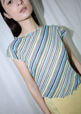 VINTAGE BLUE STRIPED TOP (S)