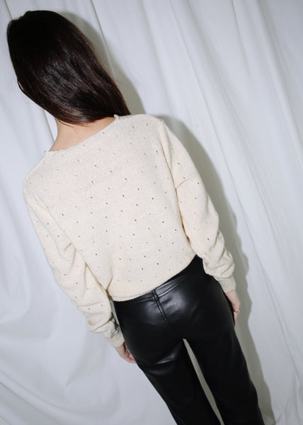 VINTAGE CREAM FLORAL V NECK SWEATER (S)