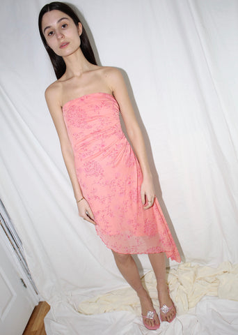 VINTAGE PINK STRAPLESS ASYMMETRICAL COCKTAIL DRESS (XS)