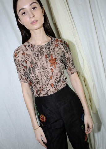 VINTAGE ISSEY MIYAKE PLEATS PLEASE BROWN LEAF PRINT TOP (M)
