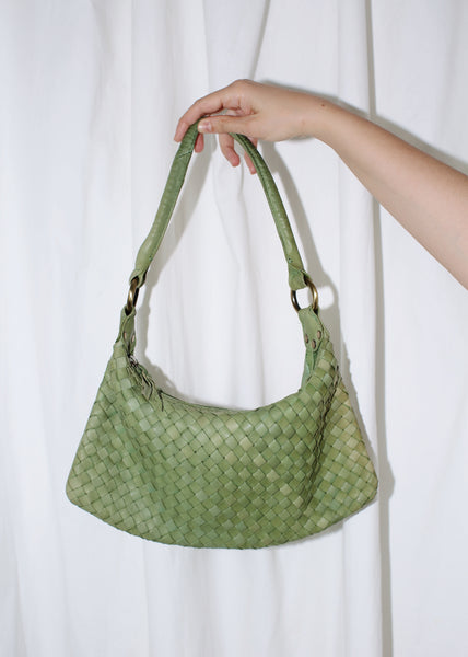 VINTAGE GREEN LEATHER WOVEN SHOULDER BAG