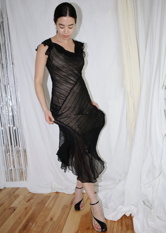 VINTAGE BCBG BLACK SILK COCKTAIL DRESS (M)
