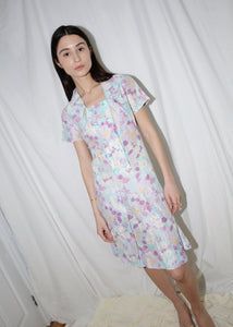 VINTAGE LIGHT BLUE FLORAL DRESS (S)
