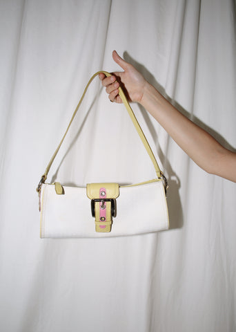 VINTAGE Y2K WHITE & GREEN BUCKLE SHOULDER BAG