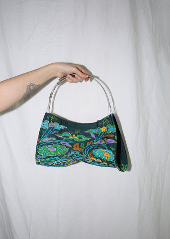 VINTAGE ISSEY MIYAKE PLEATS PLEASE GREEN FLORAL PRINT SHOULDER BAG