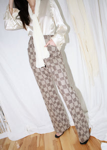 VINTAGE PIERRE CARDIN BROWN WOOL CHECKER PRINT TROUSERS (M)