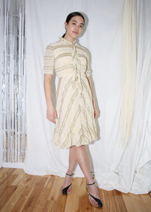 VINTAGE BEIGE & GOLD STRIPED MIDI COCKTAIL DRESS (S)